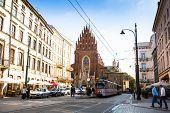 KRAKOW, POLAND - SEN 18: Street scene in historical center of Krakow, Sen 18, 2013 in Krakow, Poland