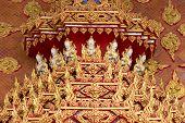 Thai religious pattern with goddess sculpture in Wat tham khao noi buddhist temple, Kanchanaburi, Thailand , Thailand