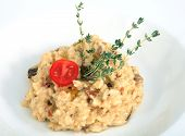Restaurant Dish, Risotto With Porcini Mushrooms, Decorated With Rosemary.