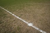 stock photo of stud  - Centre circle marked out on muddy local football pitch with stud marks - JPG