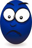 cartoon blue worried egg face
