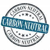 Carbon Neutral Blue Grunge Round Stamp On White Background