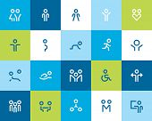 Outline people and family icons. Flat