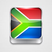 vector 3d style flag icon of south africa