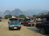 VANG VIENG, LAO - MARCH 26: Local transport bus interchange on MARCH 26,2007 in vang vieng, Lao