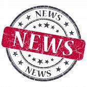 News Red Grunge Round Stamp On White Background