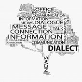 stock photo of dialect  - High resolution concept or conceptual black tree contact or dialect word cloud isolated on white background wordcloud - JPG