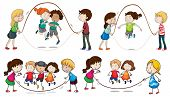 Illustration of the children playing skipping rope on a white background