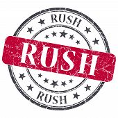 Rush Red Grunge Round Stamp On White Background