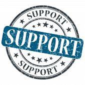 Support Blue Grunge Round Stamp On White Background