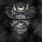 illustrations from a Japanese samurai warrior mask