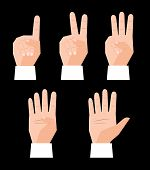 stock photo of numbers counting  - Hand counting finger signs set vector illustration - JPG