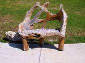 Unique Wood Bench in Park