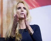 NATIONAL HARBOR, MD - MARCH 8, 2014: Conservative broadcast personality Ann Coulter speaks at the Co