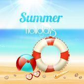stock photo of lifeline  - Summer holiday vacation travel background poster with sunglasses lifeline and starfish on beach sand vector illustration - JPG