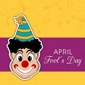 Happy Fool's Day funky concept with joker on floral decorated abstract background.