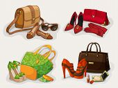Collection of women bags shoes and accessories
