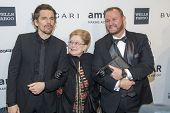 NEW YORK-FEB 5: Actor Ethan Hawke, amfAR Founding Chairman Dr. Mathilde Krim & amfAR CEO Kevin Frost attend the 2014 amfAR New York Gala at Cipriani Wall Street on February 5, 2014 in New York City.