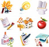 Vector cartoon style icon set. Part 24. School