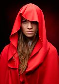 image of cloak  - beautiful woman with red cloak in studio - JPG