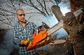 pic of man chainsaw  - Man cutting a branch with chainsaw - JPG