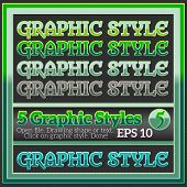 Set Of Fresh Green Glossy Graphic Styles For Design.