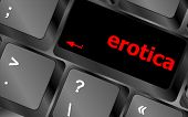 pic of pornographic  - erotica button on computer pc keyboard key - JPG