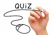 picture of quiz  - Hand sketching online Quiz concept with black marker on transparent wipe board - JPG