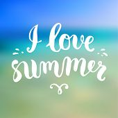 Summer Design. Blur Beach Background. Hand Drawn Lettering Vector. I love summer