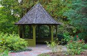 foto of gazebo  - Wooden gazebo surrounded by colorful fall foliage in Toronto park - JPG