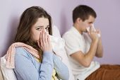 foto of high fever  - Sick woman and man have cold - JPG