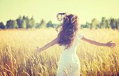 picture of yellow  - Beauty Girl Outdoors enjoying nature - JPG