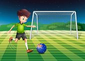 Illustration of a boy kicking the ball with the flag of New Zealand
