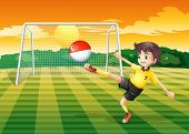 Illustration of a female soccer player kicking the ball with the Singapore flag