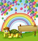 Illustration of a turtle beside the empty board with a rainbow and floating balloons in the sky