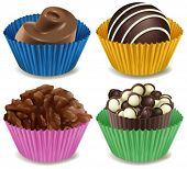 Illustration of the four kinds of mouthwatering chocolates on a white background
