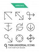 Arrow thin line icon set - 9 computer symbols for your flat deisgn