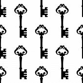 Old-fashioned ornate key seamless pattern