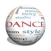 foto of jive  - Dance 3D sphere Word Cloud Concept with great terms such as music classes ballroom and more - JPG