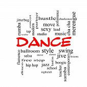 Dance Word Cloud Concept In Red Caps