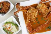pic of cooked crab  - Top View of Goan Crab Curry which is made from whole crabs cooked in spicy masala gravy - JPG