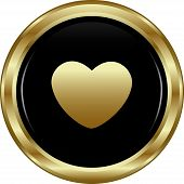 Black Gold Heart Button.