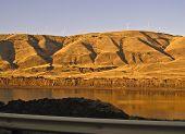 Columbia River below sunlit Cascade Mountains