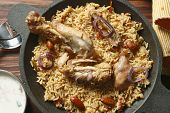 Ahmedi Biryani - An Indian Dish Containing Meat, Fish, Or Vegetables And Rice Flavored With Saffron