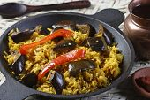 Eggplant Biryani - An Indian Food Made Of Rice And Eggplant Mixed With Spices