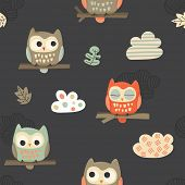 Vector seamless pattern with cute owls