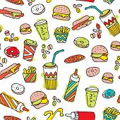 Seamless hamburger milkshake and fries junk food illustration background pattern in vector