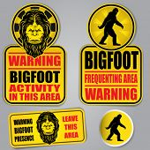stock photo of board-walk  - Bigfoot Warning Signs - JPG