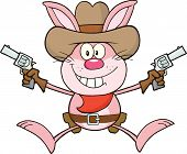 Cowboy Pink Rabbit Character Holding Up Two Revolvers