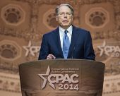 NATIONAL HARBOR, MD - MARCH 6, 2014: Wayne LaPierre, CEO of the National Rifle Association, speaks a